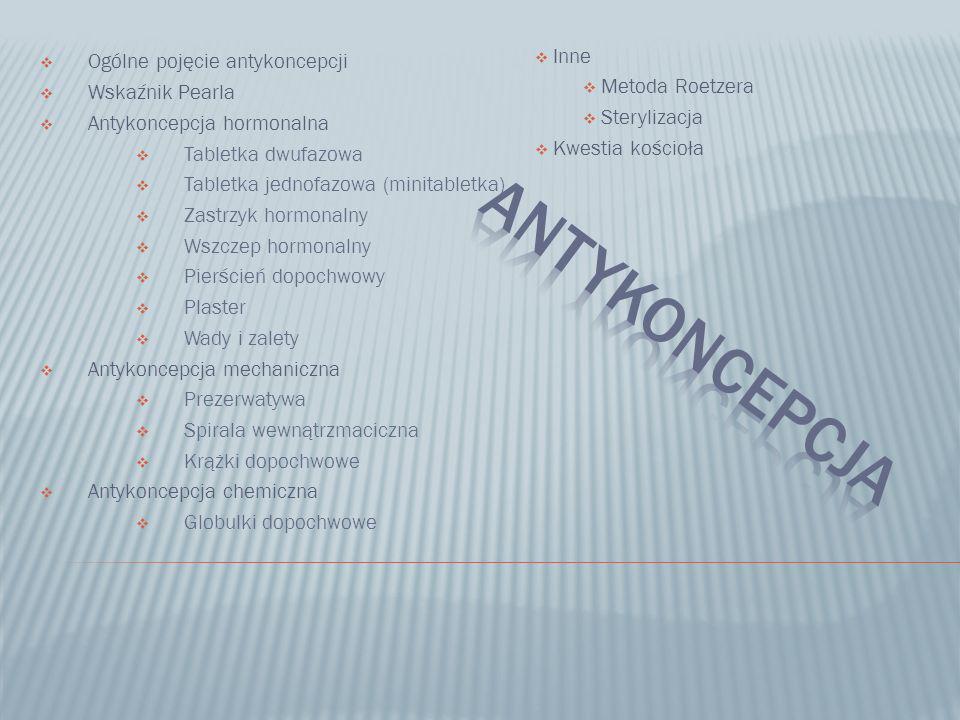 Ogólne pojęcie antykoncepcji Wskaźnik Pearla Antykoncepcja hormonalna Tabletka dwufazowa Tabletka jednofazowa (minitabletka) Zastrzyk hormonalny Wszcz