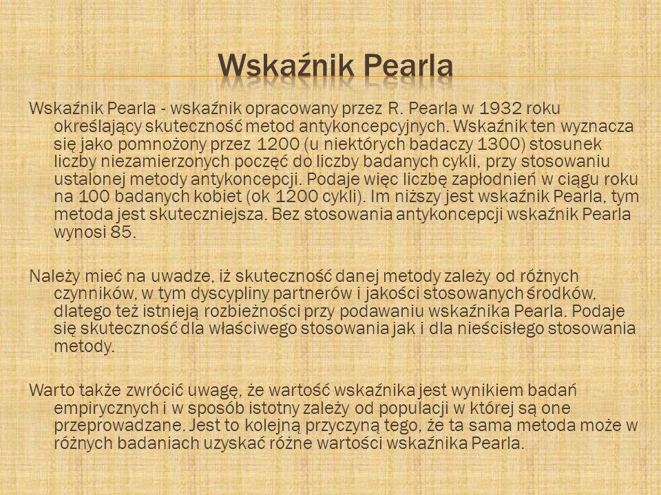 Wskaźnik Pearla - wskaźnik opracowany przez R. Pearla w 1932 roku określający skuteczność metod antykoncepcyjnych. Wskaźnik ten wyznacza się jako pomn