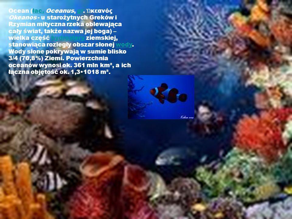 Ocean (łac. Oceanus, gr. κεανός Okeanos - u starożytnych Greków i Rzymian mityczna rzeka oblewająca cały świat, także nazwa jej boga) – wielka część h