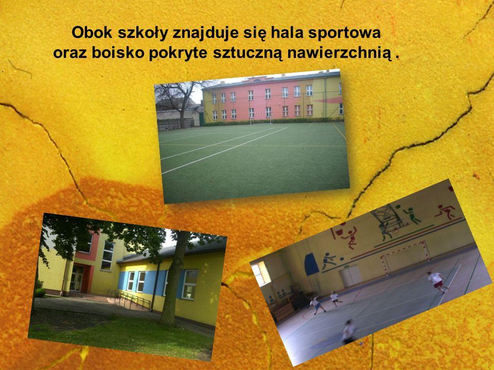 Obok szkoły znajduje się hala sportowa oraz boisko pokryte sztuczną nawierzchnią.