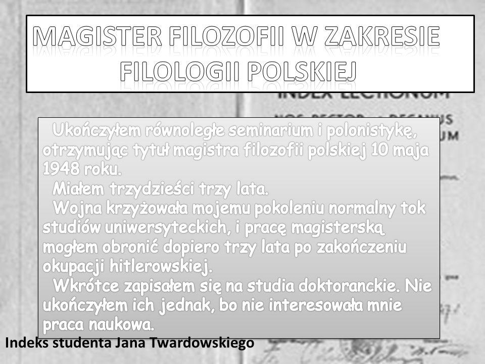 Indeks studenta Jana Twardowskiego