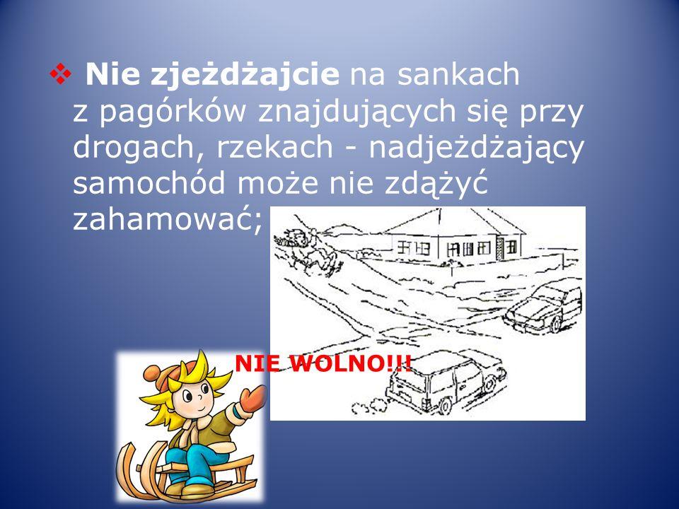 Nie zjeżdżajcie na sankach z pagórków znajdujących się przy drogach, rzekach - nadjeżdżający samochód może nie zdążyć zahamować; NIE WOLNO!!!