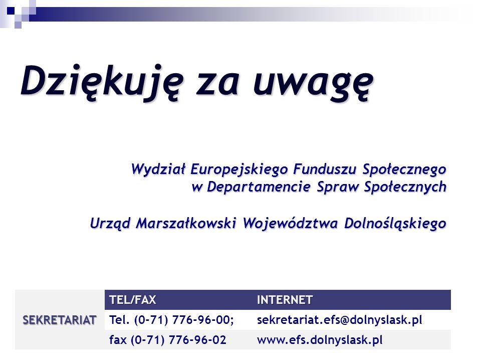 Dziękuję za uwagę Wydział Europejskiego Funduszu Społecznego w Departamencie Spraw Społecznych Urząd Marszałkowski Województwa Dolnośląskiego SEKRETARIAT TEL/FAXINTERNET Tel.