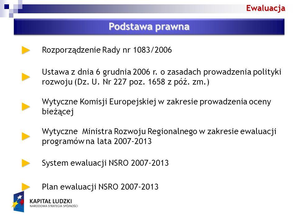 Ewaluacja Podstaw a prawn a Rozporządzenie Rady nr 1083/2006 Ustawa z dnia 6 grudnia 2006 r.