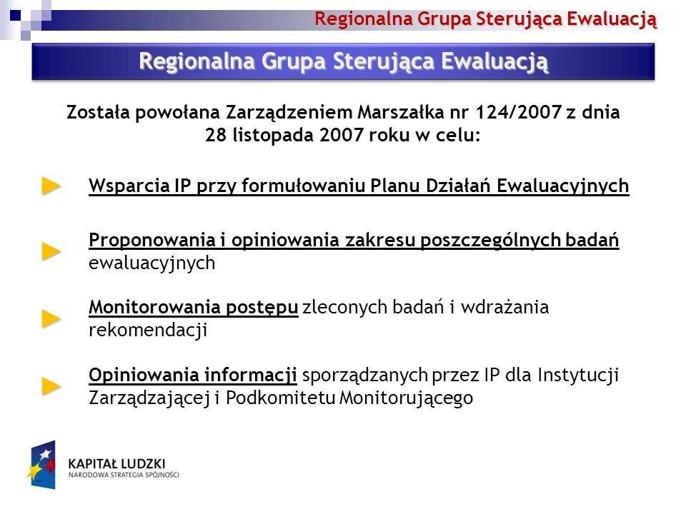 Regionalna Grupa Sterująca Ewaluacją Wsparcia IP przy formułowaniu Planu Działań Ewaluacyjnych Proponowania i opiniowania zakresu poszczególnych badań ewaluacyjnych Monitorowania postępu zleconych badań i wdrażania rekomendacji Opiniowania informacji sporządzanych przez IP dla Instytucji Zarządzającej i Podkomitetu Monitorującego Została powołana Zarządzeniem Marszałka nr 124/2007 z dnia 28 listopada 2007 roku w celu: