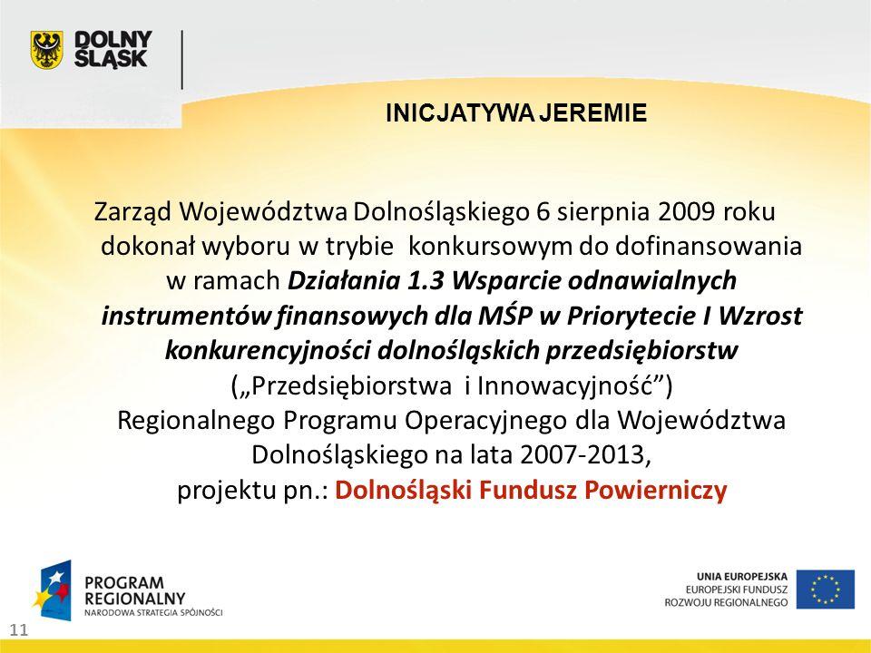 11 Zarząd Województwa Dolnośląskiego 6 sierpnia 2009 roku dokonał wyboru w trybie konkursowym do dofinansowania w ramach Działania 1.3 Wsparcie odnawialnych instrumentów finansowych dla MŚP w Priorytecie I Wzrost konkurencyjności dolnośląskich przedsiębiorstw (Przedsiębiorstwa i Innowacyjność) Regionalnego Programu Operacyjnego dla Województwa Dolnośląskiego na lata 2007-2013, projektu pn.: Dolnośląski Fundusz Powierniczy INICJATYWA JEREMIE
