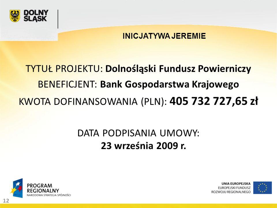 12 INICJATYWA JEREMIE TYTUŁ PROJEKTU: Dolnośląski Fundusz Powierniczy BENEFICJENT: Bank Gospodarstwa Krajowego KWOTA DOFINANSOWANIA (PLN): 405 732 727,65 zł DATA PODPISANIA UMOWY: 23 września 2009 r.