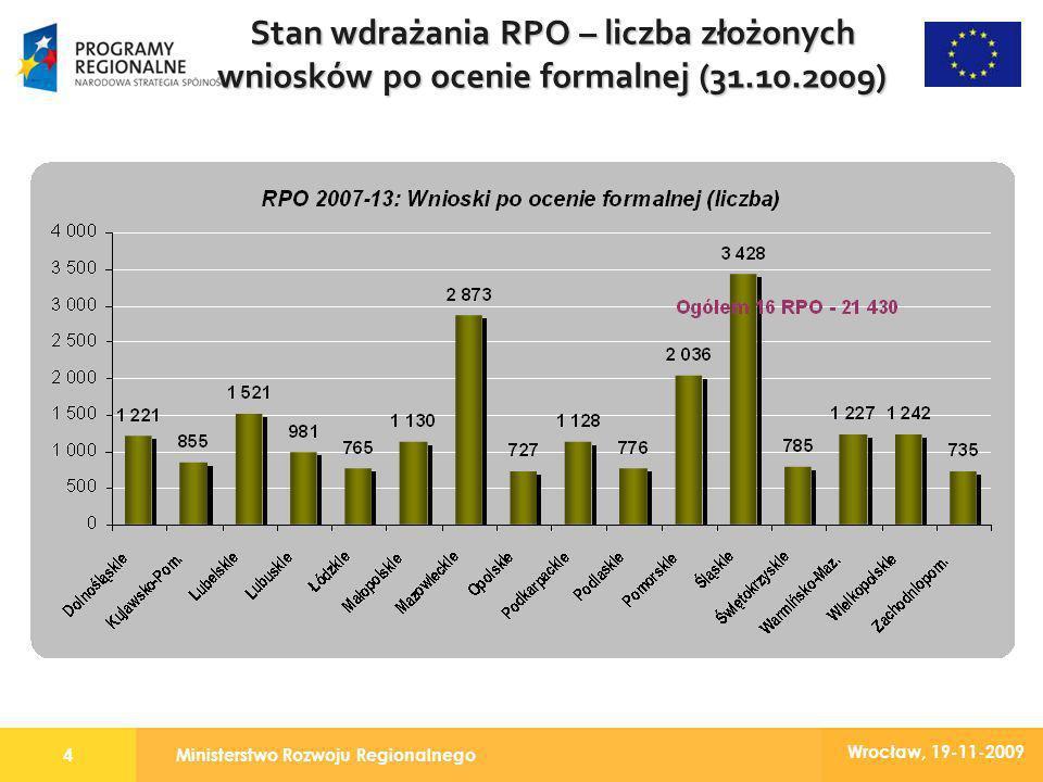 Ministerstwo Rozwoju Regionalnego4 Wrocław, 19-11-2009 Stan wdrażania RPO – liczba złożonych wniosków po ocenie formalnej (31.10.2009)