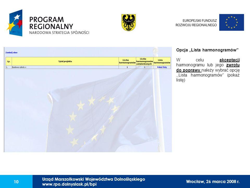 Urząd Marszałkowski Województwa Dolnośląskiego27 lutego 2008 r. 10 Opcja,,Lista harmonogramów W celu akceptacji harmonogramu lub jego zwrotu do popraw