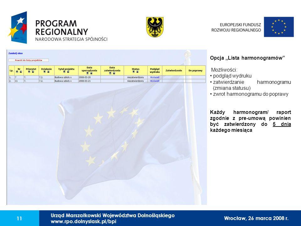 Urząd Marszałkowski Województwa Dolnośląskiego27 lutego 2008 r. 11 Opcja,,Lista harmonogramów Możliwości: podgląd wydruku zatwierdzanie harmonogramu (