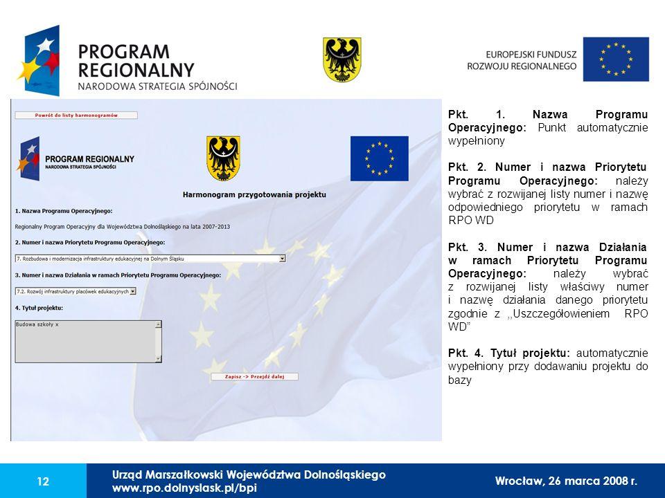 Urząd Marszałkowski Województwa Dolnośląskiego27 lutego 2008 r. 12 Pkt. 1. Nazwa Programu Operacyjnego: Punkt automatycznie wypełniony Pkt. 2. Numer i