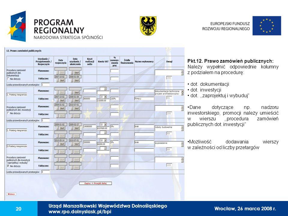 Urząd Marszałkowski Województwa Dolnośląskiego27 lutego 2008 r. 20 Pkt.12. Prawo zamówień publicznych: Należy wypełnić odpowiednie kolumny z podziałem