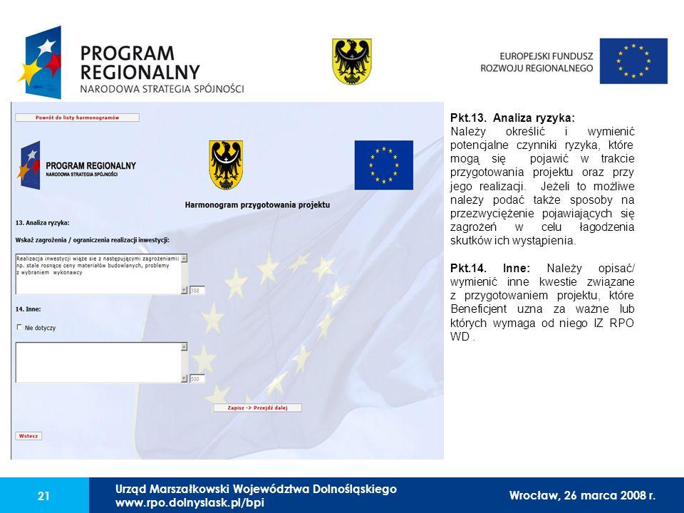 Urząd Marszałkowski Województwa Dolnośląskiego27 lutego 2008 r. 21 Pkt.13. Analiza ryzyka: Należy określić i wymienić potencjalne czynniki ryzyka, któ