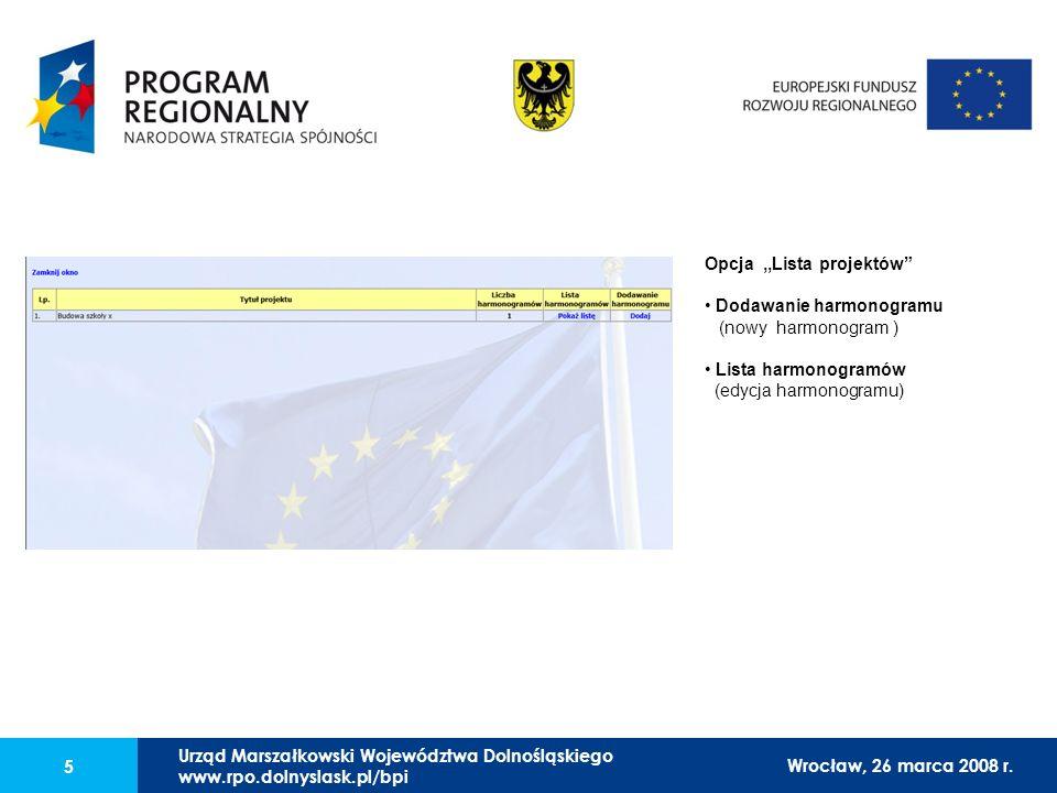 Urząd Marszałkowski Województwa Dolnośląskiego27 lutego 2008 r. 5 Opcja,,Lista projektów Dodawanie harmonogramu (nowy harmonogram ) Lista harmonogramó