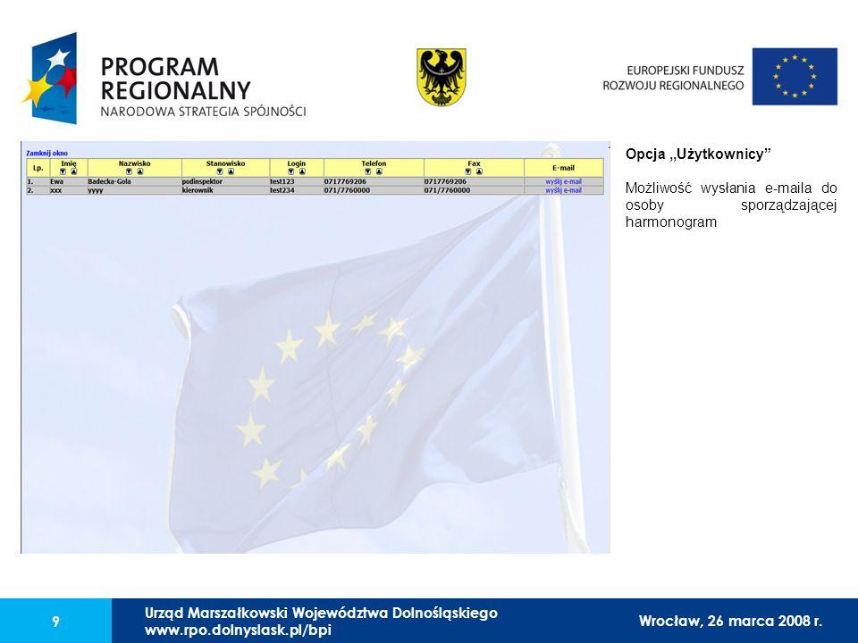 Urząd Marszałkowski Województwa Dolnośląskiego27 lutego 2008 r. 9 Opcja,,Użytkownicy Możliwość wysłania e-maila do osoby sporządzającej harmonogram Wr