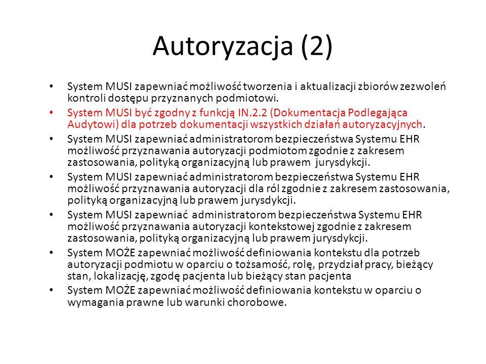 Autoryzacja (2) System MUSI zapewniać możliwość tworzenia i aktualizacji zbiorów zezwoleń kontroli dostępu przyznanych podmiotowi. System MUSI być zgo