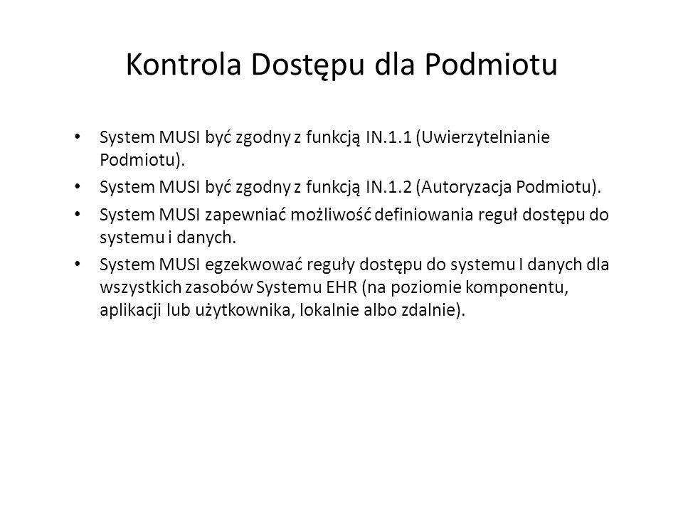Kontrola Dostępu dla Podmiotu System MUSI być zgodny z funkcją IN.1.1 (Uwierzytelnianie Podmiotu). System MUSI być zgodny z funkcją IN.1.2 (Autoryzacj