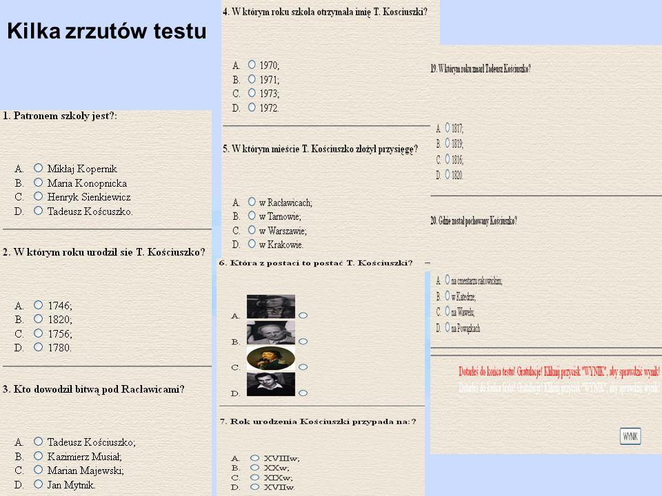 Kilka zrzutów testu