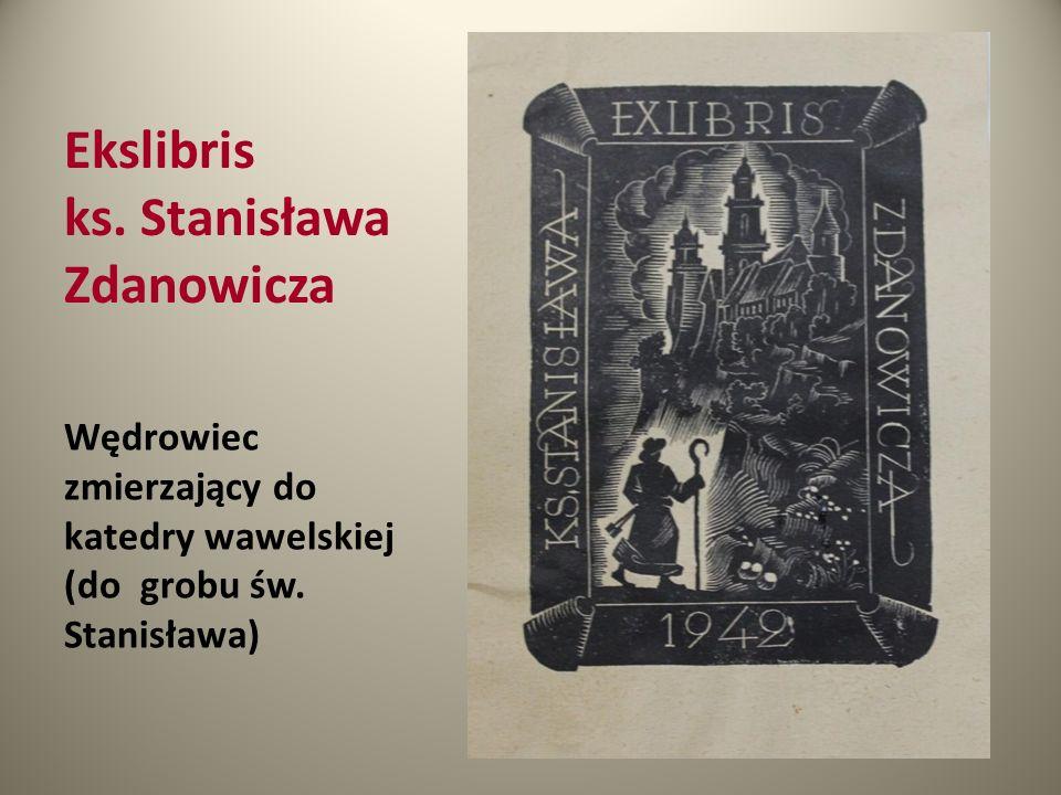 Ekslibris ks. Stanisława Zdanowicza Wędrowiec zmierzający do katedry wawelskiej (do grobu św. Stanisława)