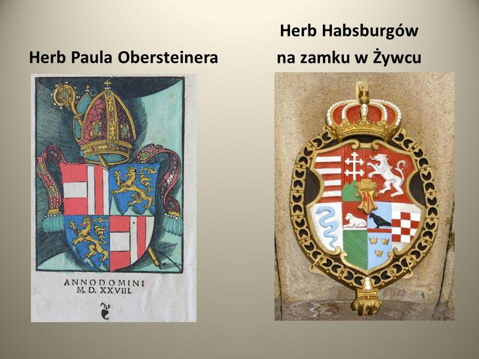 Herb Paula Obersteinera Herb Habsburgów na zamku w Żywcu