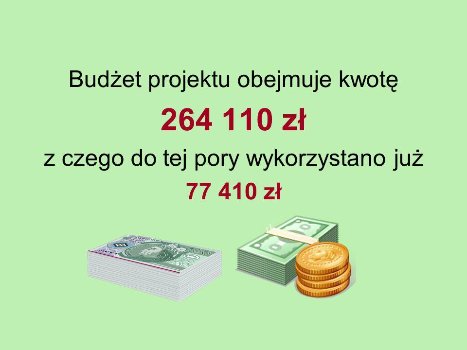 Budżet projektu obejmuje kwotę 264 110 zł z czego do tej pory wykorzystano już 77 410 zł