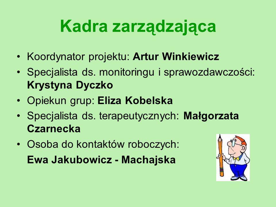 Kadra zarządzająca Koordynator projektu: Artur Winkiewicz Specjalista ds. monitoringu i sprawozdawczości: Krystyna Dyczko Opiekun grup: Eliza Kobelska