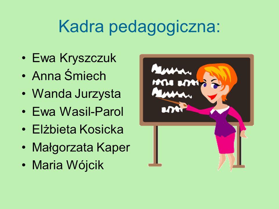 Kadra pedagogiczna: Ewa Kryszczuk Anna Śmiech Wanda Jurzysta Ewa Wasil-Parol Elżbieta Kosicka Małgorzata Kaper Maria Wójcik