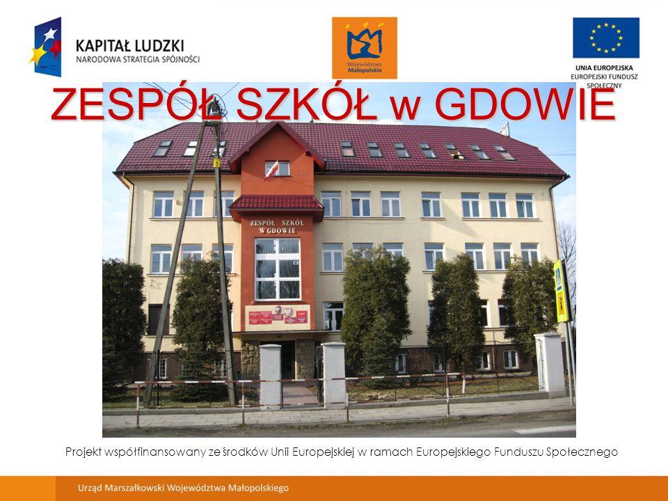 ZESPÓŁ SZKÓŁ w GDOWIE Projekt współfinansowany ze środków Unii Europejskiej w ramach Europejskiego Funduszu Społecznego