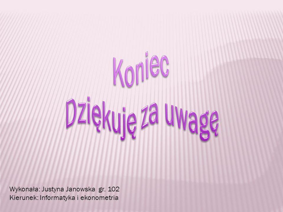 Wykonała: Justyna Janowska gr. 102 Kierunek: Informatyka i ekonometria