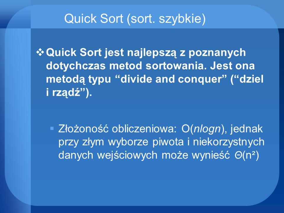 Quick Sort (sort. szybkie) Quick Sort jest najlepszą z poznanych dotychczas metod sortowania. Jest ona metodą typu divide and conquer (dziel i rządź).