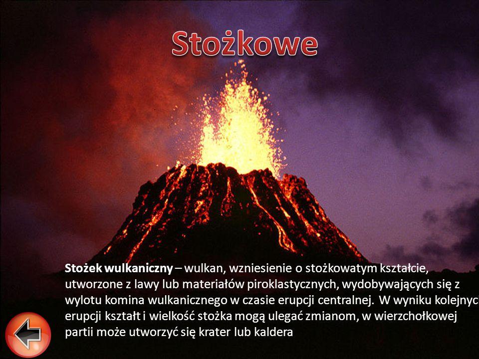 Stożek wulkaniczny Stożek wulkaniczny – wulkan, wzniesienie o stożkowatym kształcie, utworzone z lawy lub materiałów piroklastycznych, wydobywających
