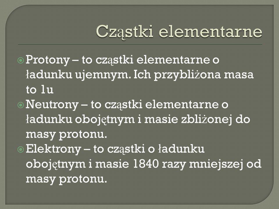Protony – to cz ą stki elementarne o ł adunku ujemnym. Ich przybli ż ona masa to 1u Neutrony – to cz ą stki elementarne o ł adunku oboj ę tnym i masie