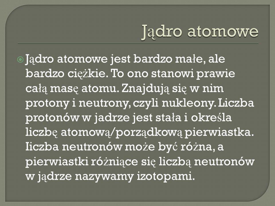 J ą dro atomowe jest bardzo ma ł e, ale bardzo ci ęż kie. To ono stanowi prawie ca łą mas ę atomu. Znajduj ą si ę w nim protony i neutrony, czyli nukl