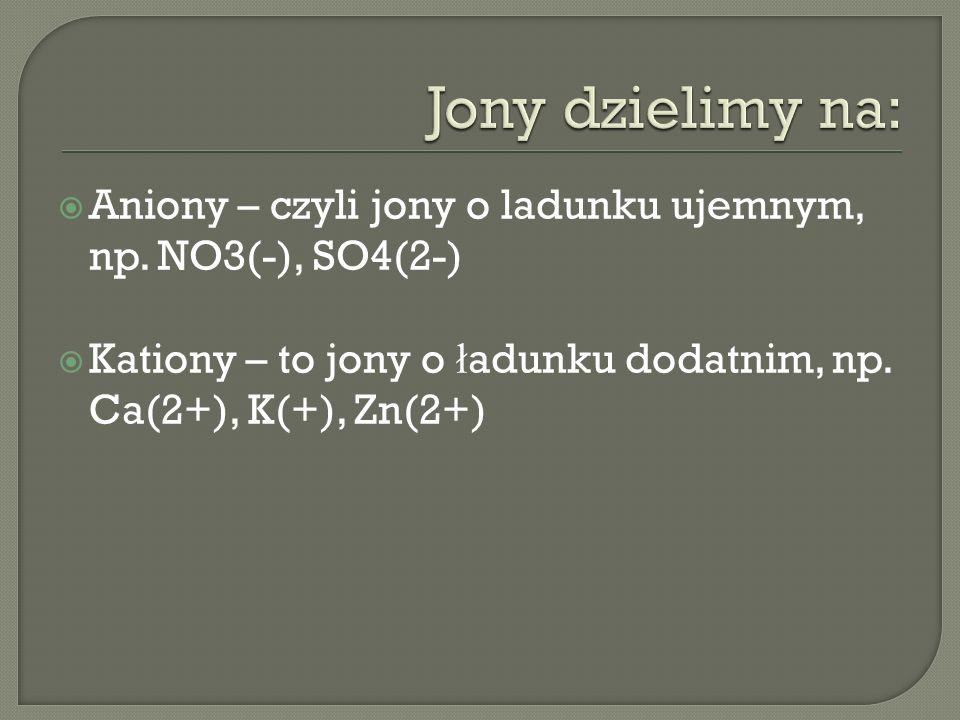 Aniony – czyli jony o ladunku ujemnym, np. NO3(-), SO4(2-) Kationy – to jony o ł adunku dodatnim, np. Ca(2+), K(+), Zn(2+)
