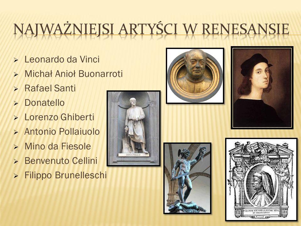Leonardo da Vinci Michał Anioł Buonarroti Rafael Santi Donatello Lorenzo Ghiberti Antonio Pollaiuolo Mino da Fiesole Benvenuto Cellini Filippo Brunell