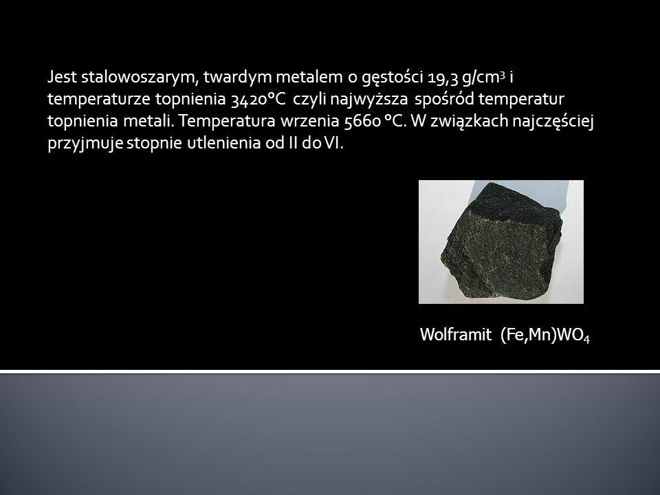 Jest stalowoszarym, twardym metalem o gęstości 19,3 g/cm 3 i temperaturze topnienia 3420°C czyli najwyższa spośród temperatur topnienia metali. Temper