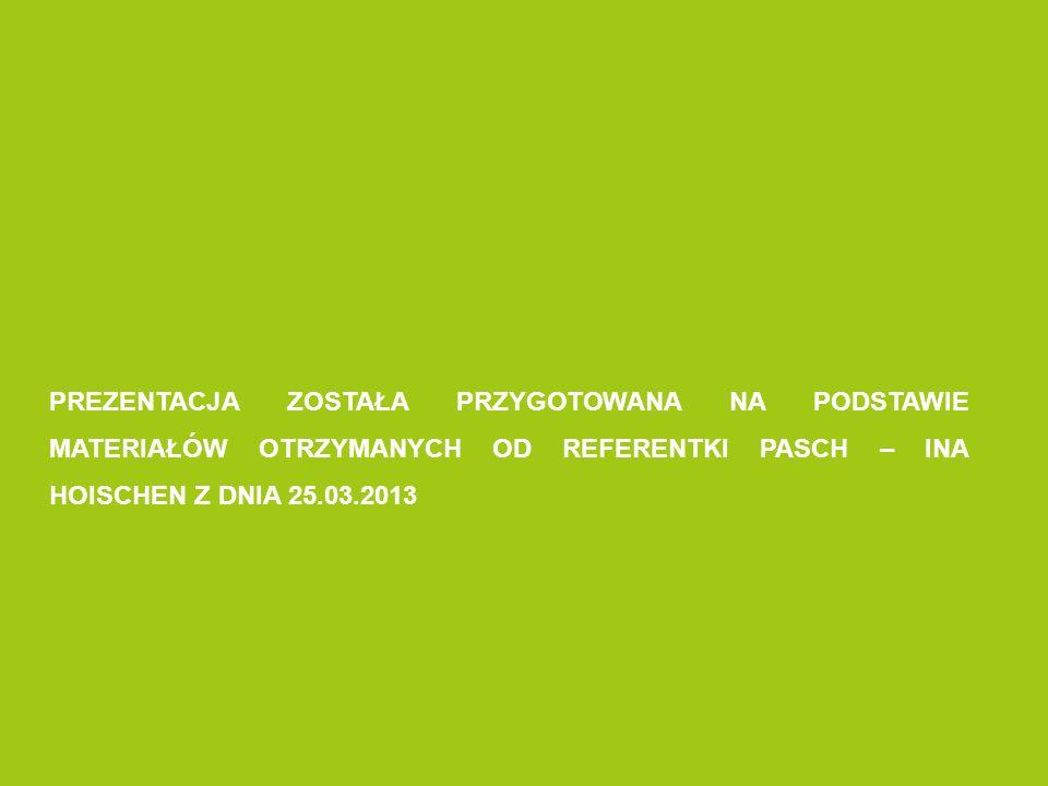PREZENTACJA ZOSTAŁA PRZYGOTOWANA NA PODSTAWIE MATERIAŁÓW OTRZYMANYCH OD REFERENTKI PASCH – INA HOISCHEN Z DNIA 25.03.2013