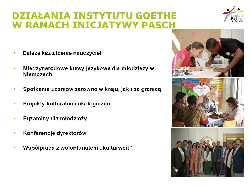 DZIAŁANIA INSTYTUTU GOETHE W RAMACH INICJATYWY PASCH Dalsze kształcenie nauczycieli Międzynarodowe kursy językowe dla młodzieży w Niemczech Spotkania uczniów zarówno w kraju, jak i za granicą Projekty kulturalne i ekologiczne Egzaminy dla młodzieży Konferencje dyrektorów Współpraca z wolontariatem kulturweit