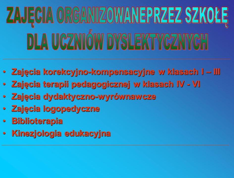 Zajęcia korekcyjno-kompensacyjne w klasach I – III Zajęcia terapii pedagogicznej w klasach IV - VI Zajęcia dydaktyczno-wyrównawcze Zajęcia logopedyczne Biblioterapia Kinezjologia edukacyjna