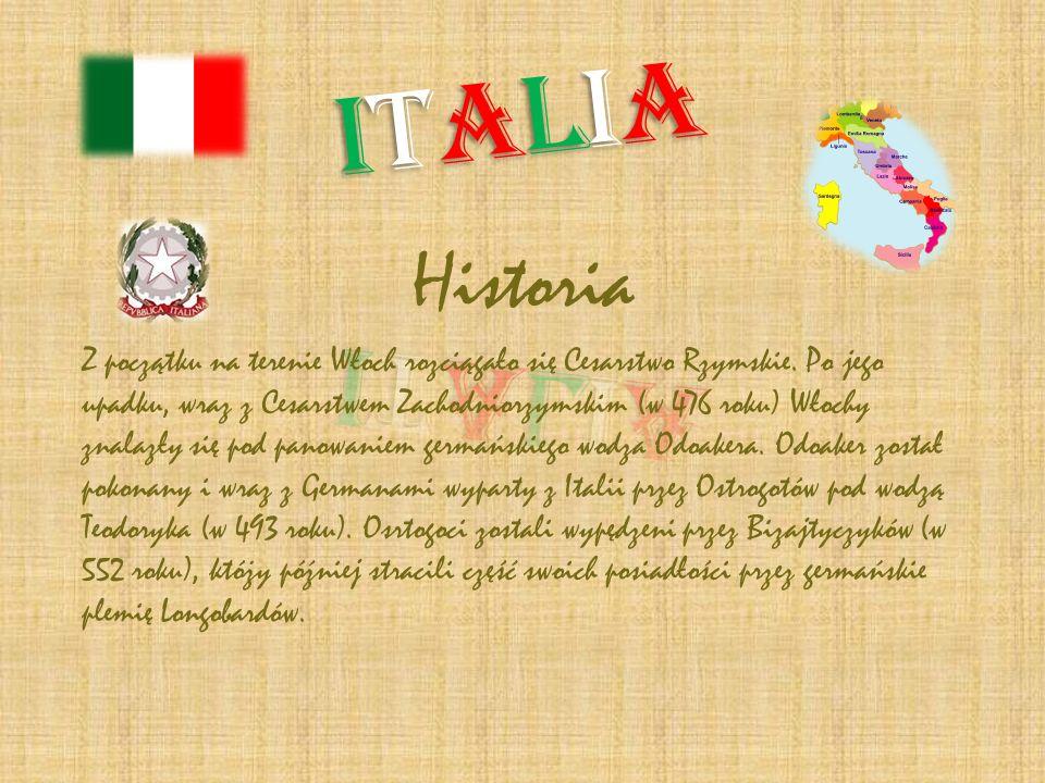 Historia Z początku na terenie Włoch rozciągało się Cesarstwo Rzymskie. Po jego upadku, wraz z Cesarstwem Zachodniorzymskim (w 476 roku) Włochy znalaz