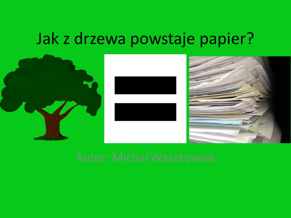 Jak z drzewa powstaje papier? Autor: Michał Waszkowiak