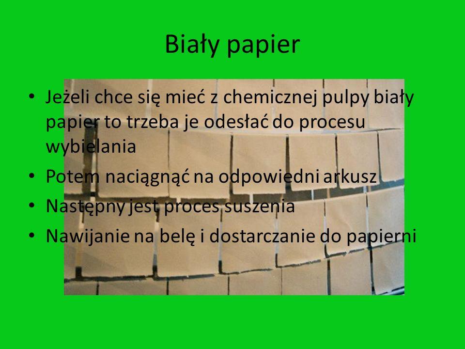 Biały papier Jeżeli chce się mieć z chemicznej pulpy biały papier to trzeba je odesłać do procesu wybielania Potem naciągnąć na odpowiedni arkusz Nast