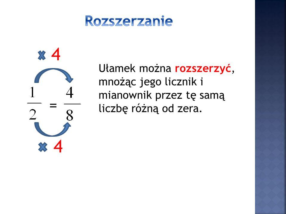 = 3 3 Ułamek można skrócić licznik i mianownik ułamka dzielimy przez ta samą liczbę różną od zera.