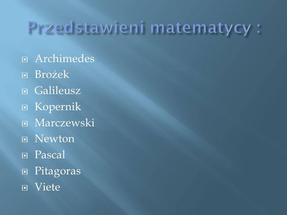 Archimedes Brożek Galileusz Kopernik Marczewski Newton Pascal Pitagoras Viete