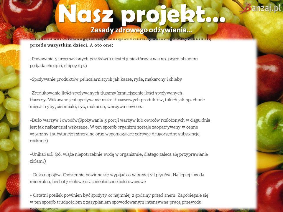 Nasz projekt… Zasady zdrowego odżywiania…
