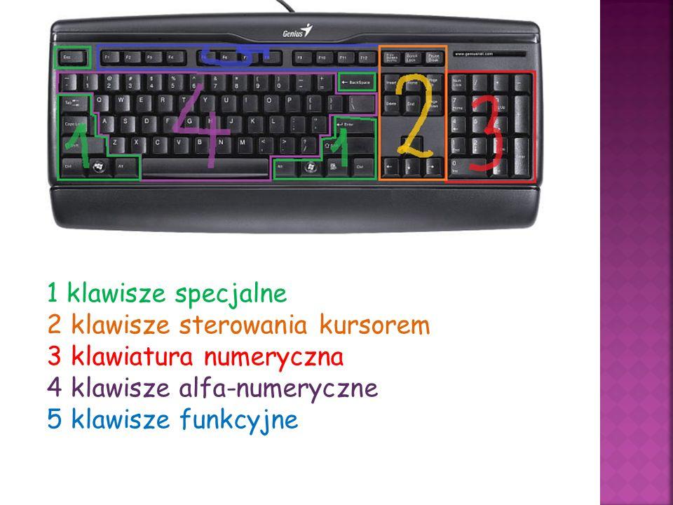 1 klawisze specjalne 2 klawisze sterowania kursorem 3 klawiatura numeryczna 4 klawisze alfa-numeryczne 5 klawisze funkcyjne