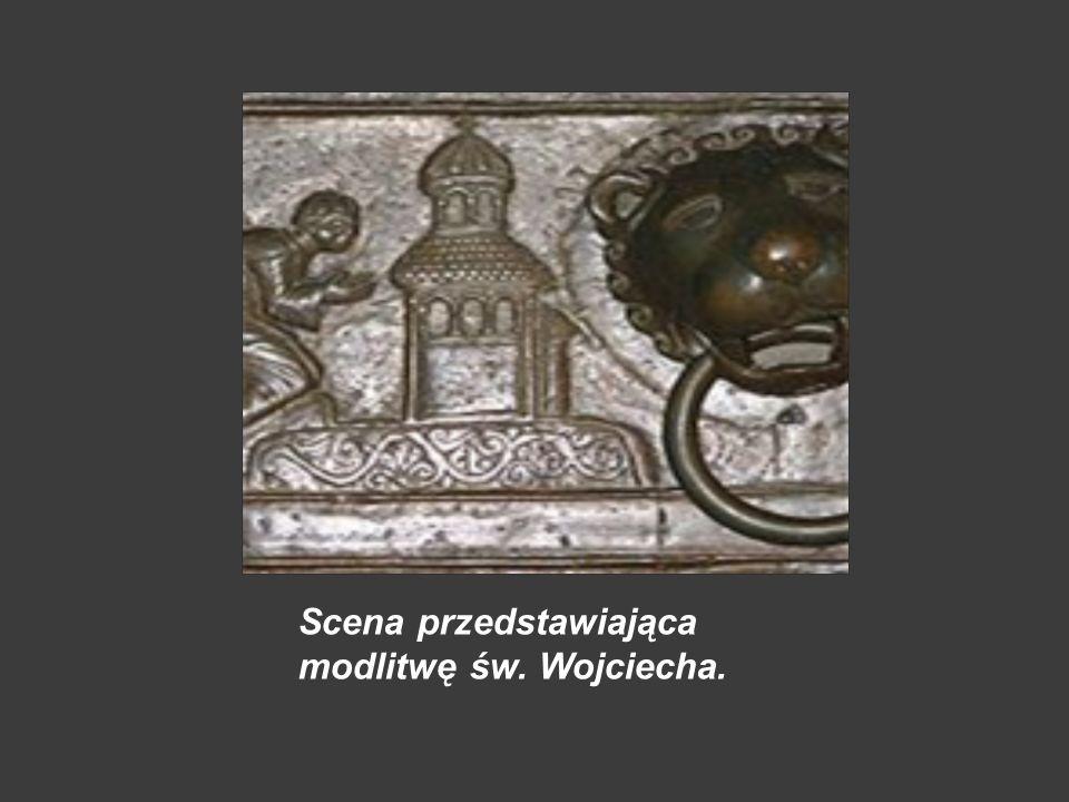 Drzwi Gnieźnieńskie Skrzydło lewe 1.narodzenie i kąpiel Wojciecha w 956 r.