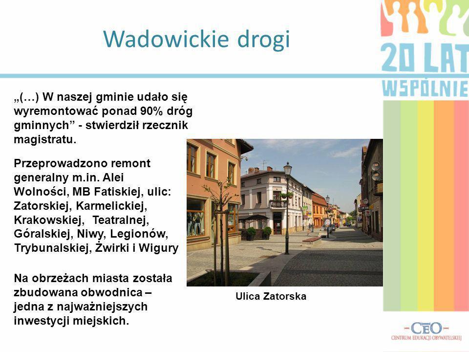 Wadowickie drogi (…) W naszej gminie udało się wyremontować ponad 90% dróg gminnych - stwierdził rzecznik magistratu. Przeprowadzono remont generalny