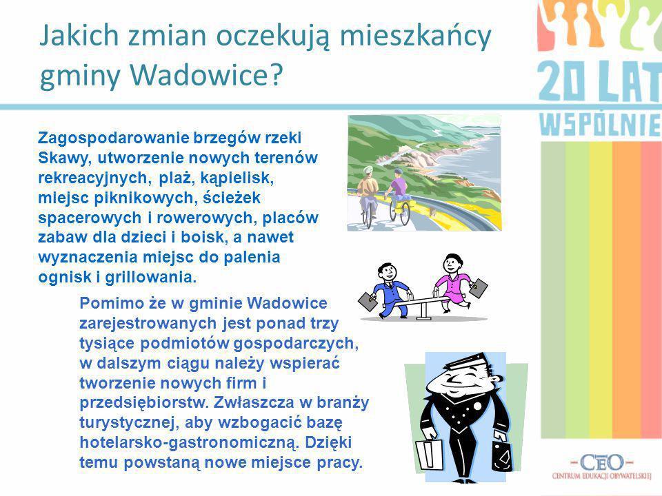 Jakich zmian oczekują mieszkańcy gminy Wadowice? Zagospodarowanie brzegów rzeki Skawy, utworzenie nowych terenów rekreacyjnych, plaż, kąpielisk, miejs