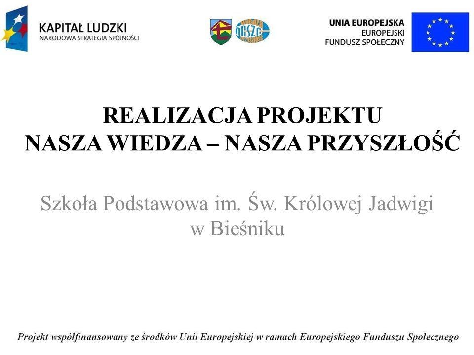 REALIZACJA PROJEKTU NASZA WIEDZA – NASZA PRZYSZŁOŚĆ Szkoła Podstawowa im.